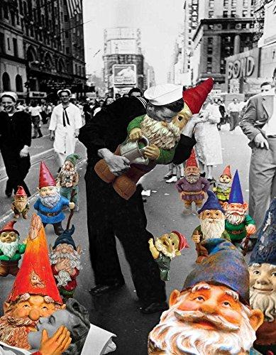Feeling at Home Kunstdruck auf LEINWAND im SCHATTENFUGENRAHMEN Kite- Barry Gartenzwerge - VJ Day Leinwandbilder im moderner Holzrahmen Humor Vertikale cm_68_X_52