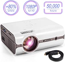 CRENOVA XPE496 Mini Projector, Full HD 1080P and 170'' Display Supported, Portable Mini Video Projector, 50,000 Hours Led, Compatible with PC, Mac, TV, Amazon Fire Stick, Roku, iPhone, iPad, PS