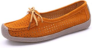 SHANLEE Leather Soft Bottom Flat Shoes Hollow Anti-Skid Casual Pregnant Women Shoes