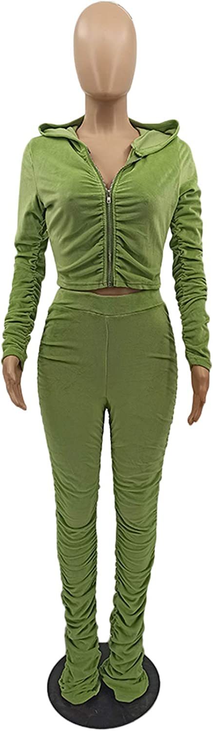 Bluewolfsea Womens Casual Velour 2 Pieces Tracksuit Ruched Zip-Up Hoodies Jacket Sweatpants Club Jumpsuits Activewear Outfits
