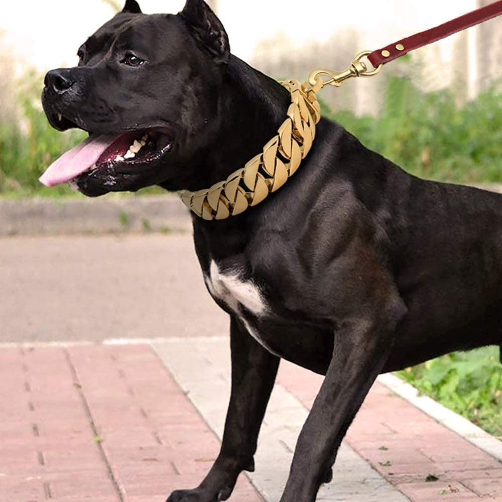 19mm Width,18K Gold//Silver Dog Collar,Heavy Duty Cuban Link Gold Plated Large Pet Dogs Necklace Choke for Bully Pitbull Gold, 14inch
