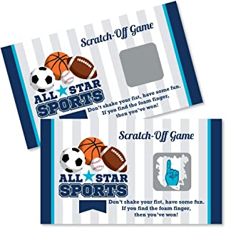 Big Dot of Happiness Go, Fight, Win - Sports - Baby Shower or Birthday Party Game Scratch Off Cards - 22 Count