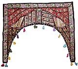 Cortina decorativa de patchwork, para ventana, bordada, para colgar en la puerta, diseño de toran de bandana, algodón, Multi 3, 39' X 38' Inches