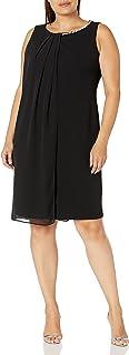 S.L. Fashions Women's Plus Size Envelope Hem Pleat Front Dress