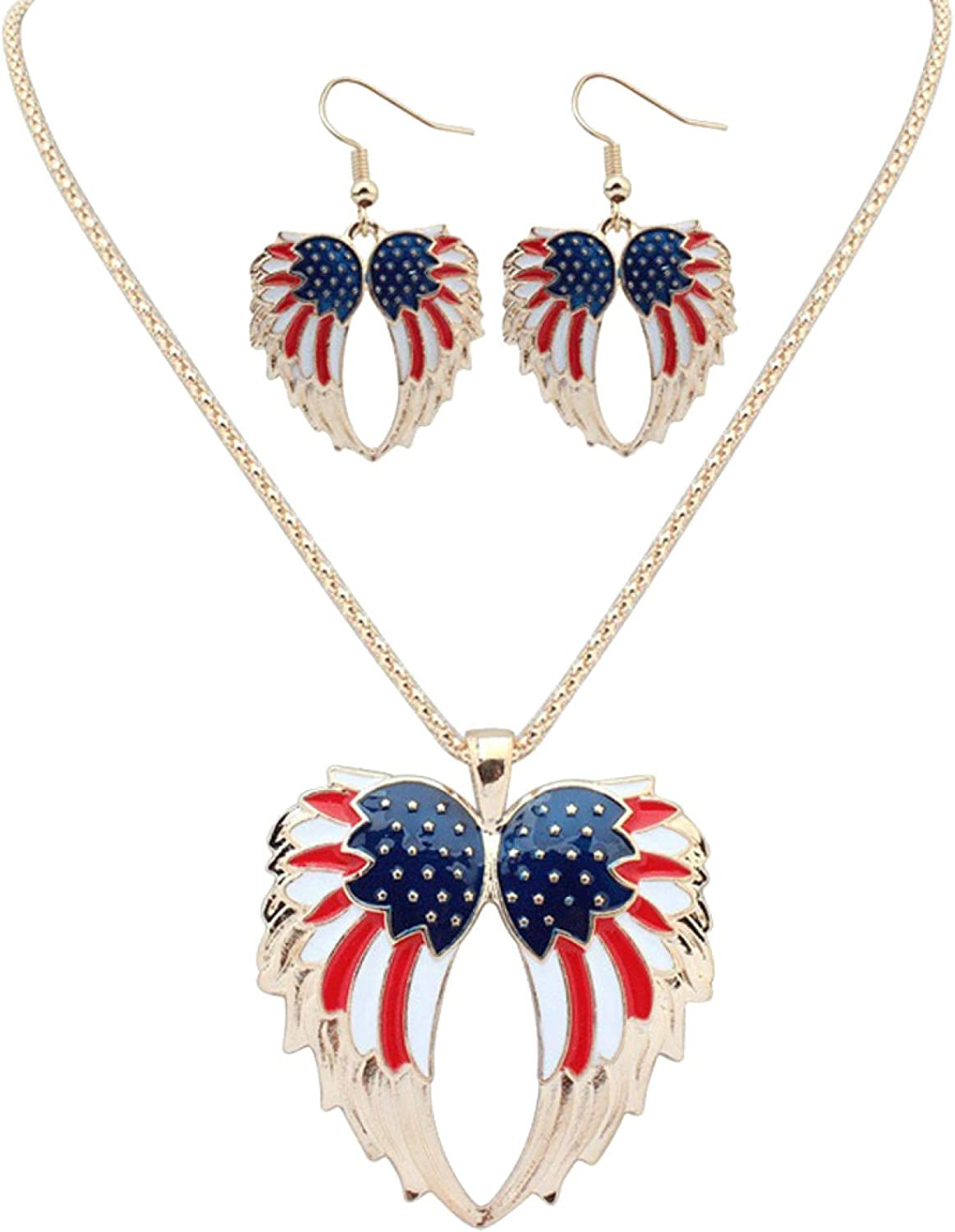 Jewelry Sets for Women,Independence Day USA Flag Patriotic Wings Women Necklace Earrings Jewelry Set