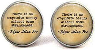 Edgar Allan Poe Quote - There is no Exquisite Beauty Without Some Strangeness. - Literary Jewelry - Quote About Beauty - Book Jewelry Earrings