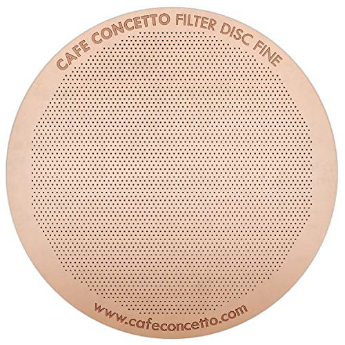 Filter for AeroPress - CAFE CONCETTO - Disc Fine - Reusable - Premium Coated Stainless Steel (Rose Gold, Metal) - Brew Tips Included