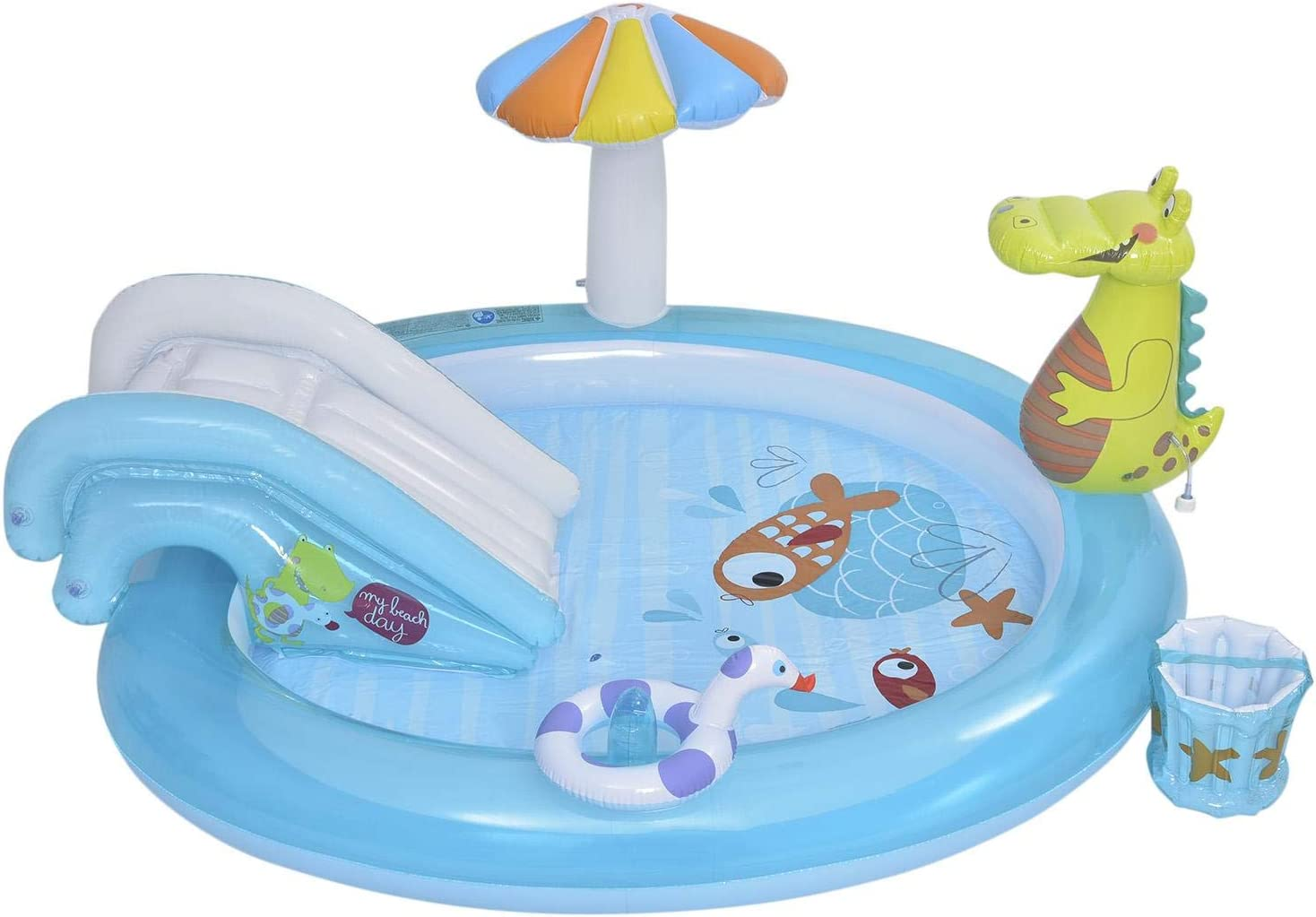 Sroomcla Tobogán acuático de cocodrilo Piscina Inflable Piscina Infantil Piscina Familiar para niños Piscina de Bolas oceánicas Centro de Juegos Inflable Value