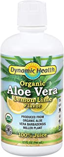 Dynamic Health Organic Aloe Vera Juice, Lemon Lime Flavor | No Added Sugar, Artificial Color or Sweeteners, No Gluten or B...