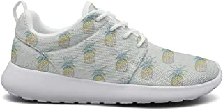 for Women Ultra Lightweight Breathable Mesh Athleisure Sneakers Summer Time Palm Tree Yellow Pineapple Fashion Walking Shoes