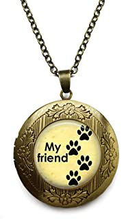 Vintage Bronze Tone Locket Picture Pendant Necklace Puppy Dog Included Free Brass Chain Gifts Personalized