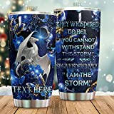 Personalized Magic White Dragon I Am The Storm Stainless Steel Tumbler Perfect Gifts For Dragon Lover Tumbler Cups For Coffee/Tea, Great Customized Gifts For Birthday Christmas Thanksgiving