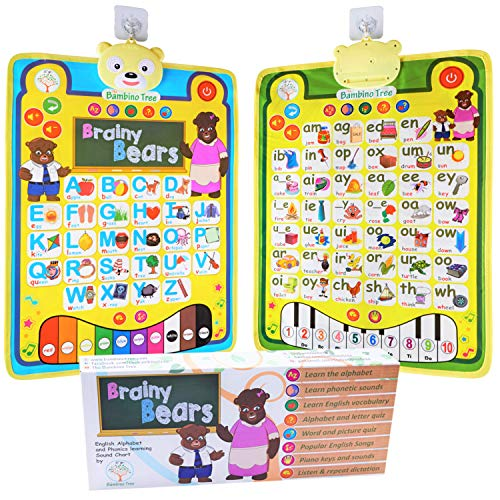 Phonics Talking Poster Alphabet ABC Double-sided Chart for Wall - Preschool Musical Learning Play Mat - Teach Phoneme Sounds Colors Numbers - Educational Toy to Jumpstart your Child's Reading
