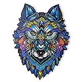 Rompecabezas de Madera | Rompecabezas de Animales de Madera de Lobo de Forma única | Puzzle Animales para Adultos y Niños (L)