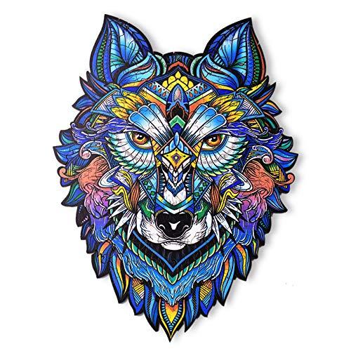 Rompecabezas de Madera | Rompecabezas de Animales de Madera de Lobo de Forma única | Puzzle Animales para Adultos y Niños (L) ✅