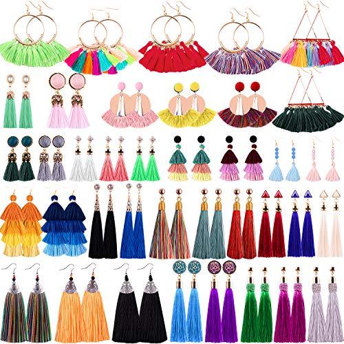 Duufin 38 Pairs Tassel Earrings Colorful Long Layered Tassel Earrings Dangling Thread Ball Earring Hoop Fringe Bohemian Tiered Statement Earrings for Women Girls