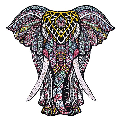 Wooden Jigsaw Puzzles – Decorative Elephant Hartmaze HM-06 Small Size Puzzle 171 Unique Shape Jigsaw Pieces-Beautiful Animal for Adults and 9 Years Age up Teens- Best for Family Game Play Collection.