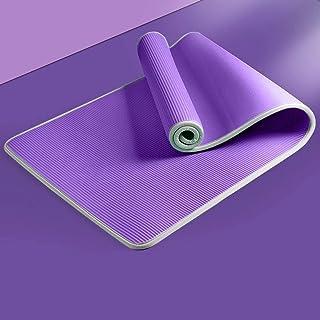 Täckkant yogamatta kvinnor män halksäkra yoga Pilates dans fitness matta gym hem kondition 10mm nybörjare lila