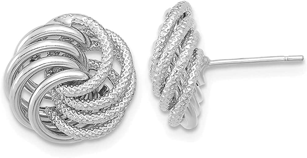 14k White Gold Textured Swirl Post Stud Earrings Ball Button Love Knot Fine Jewelry For Women Gifts For Her