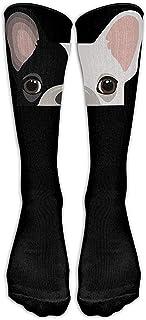 ulxjll, Calf Sock Lindo Bulldog Francés Estampado Novedad Premium Becerro Tubo Fashional Calcetines Largos Niñas Niños Rodilla Medias De Viaje Transpirable Divertido Personalizado 50 Cm