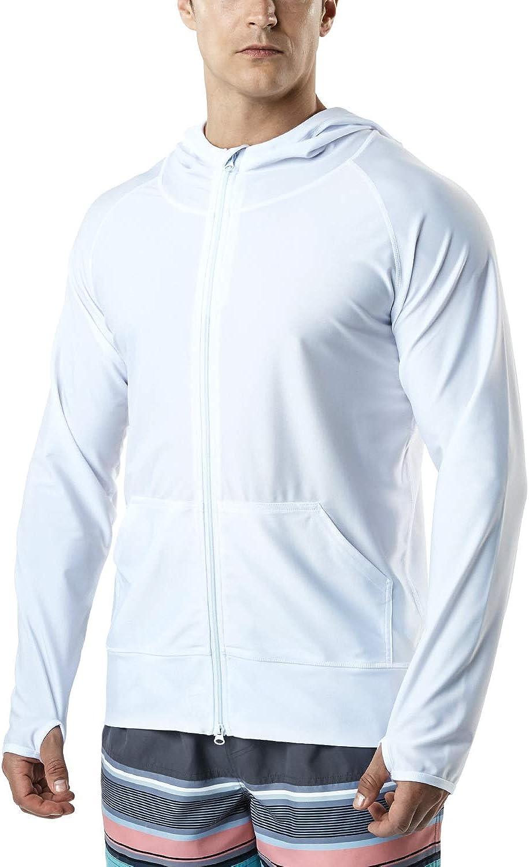 TSLA Men's UPF 50+ Long Sleeve Sun Protection Hoodie, Zip Front Performance UV/SPF Shirt, Lightweight Running Fishing Shirts