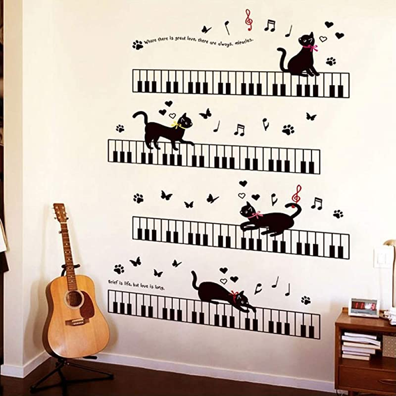 WQDWF Wall Sticker The Cat On The Piano Music Wall Stickers For Kids Rooms Bedroom Art Background Skirting PVC Skirting Butterfly Wall Decor