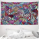 ABAKUHAUS Psicodélico Tapiz de Pared y Cubrecama Suave, Arte Colorido Divertido Moderno 90's Estilo Vitral Triángulo Cuadrados Estampa, Material Resistente, 230 x 140 cm, Multicolor