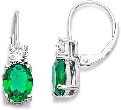 Miore orecchini da donna in argento sterling 925 con rubino rosso/smeraldo verde e zirconia