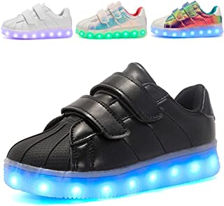 Kids Boy and Girl's 7 Color Led PU Sneakers Light up Flashing Skateboard Shoes (Toddler/Little Kid/Big Kid)