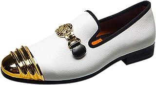 Chaussure Homme Cuir Casual Mocassin avec Boucle en Métal Noble Party Slip on Chaussures Habillées Loafers Pantoufle Noir ...