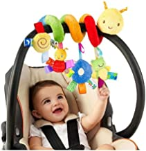 BSTiltion Juguetes de Cochecito de Bebe Infantil, Espiral de Actividad para Juguetes para Bebés, Juguetes Carro Asiento Cochecito Juguete con Campana deimbre, Colgantes Espiral de Animalese Animales