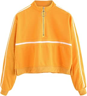 Women's Zip Front High Neck Tape Striped Detail Crop Sweatshirt