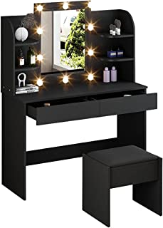 Dressing Table Makeup Vanity Table Stool Set with LED Lighted Mirror Drawers Classic Black