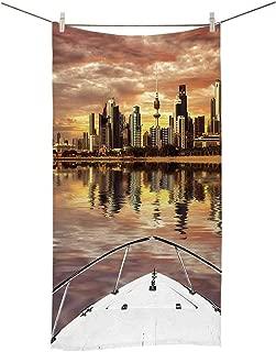 YOLIYANA Travel Decor Soft Double Side Printed Towel,Kuwait City Skyline from Sailboat Majestic Sky Skyscrapers Arabia Landscape Decorative for Gym,27''Lx13''W