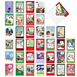 NobleWorks - 36 Funny Christmas Cards Boxed - Adult Bulk Notecard Assortment, Fun Cartoon New Year and Holiday Greetings - Favorite Holiday Toons Collection AC6736XXG-B1x36