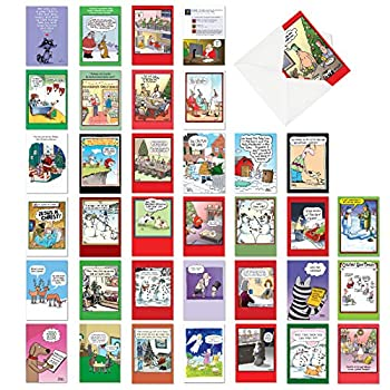 NobleWorks - 36 Funny Christmas Cards Boxed - Adult Bulk Notecard Assortment Fun Cartoon New Year and Holiday Greetings - Favorite Holiday Toons Collection AC6736XXG-B1x36