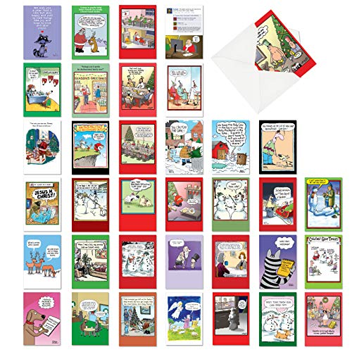 NobleWorks - 36 Funny Christmas Cards Boxed - Adult Bulk Notecard Assortment, Fun Cartoon New Year and Holiday Greetings - AC6736XXG-B1x36