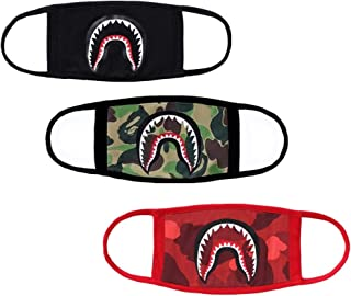 3-Pack Shark Face Mask,Cotton Fashion Anti-dust Bape Half Face Mouth Mask for Boys and Girls