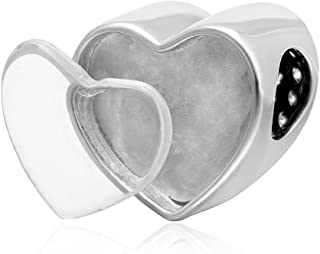 Choruslove Personalized Heart Photo Charm Picture Charm Beads 925 Sterling Silver Inlay Clear CZ Fit European Women Bracelet Neclace Valentines Mothers Present