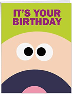 Extra Large Funny Birthday Card: 'Fk Yeah' w/ Envelope (Big Version: 8.5 x 11 Inch) - Big Happy Birthday Greetings Card w/ Hilarious Message - Adult Humor J1359
