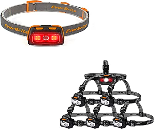 new arrival EverBrite Headlamp - 300 Lumens Headlight with Red/Green Light and Tail Light, 7 high quality Lighting Modes+ 6-Pack Headlamp LED 150 Lumens Battery Operated Super Bright with 2 Red popular Lights AAA Batteries Included outlet sale