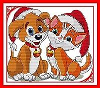 LovetheFamily クロスステッチキット DIY 手作り刺繍キット 正確な図柄印刷クロスステッチ 家庭刺繍装飾品 11CT ( インチ当たり11個の小さな格子)中程度の格子 刺しゅうキット フレームがない - 36×33 cm クリスマスの犬と猫を一緒に