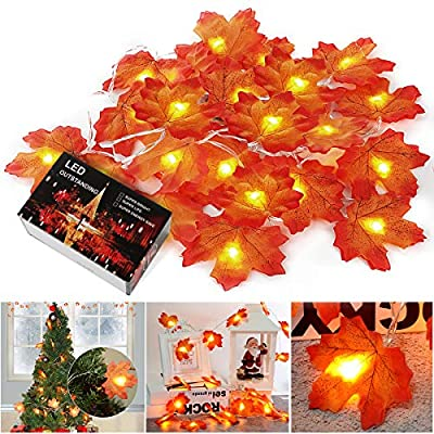Thanksgiving Decoration Lights 20 LED and 40 Maple Leaf Wrapped Fairy Lights 8.2 feet Autumn Lighting Garland Decoration Waterproof String Lights Indoor and Outdoor Outdoor Party Wedding
