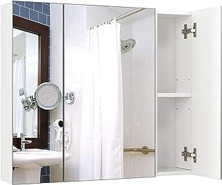 Meuble de Salle de Bain avec Miroir Placard de Rangement Mural Blanc 3 Portes étagères réglables en Bois 70x15x60cm