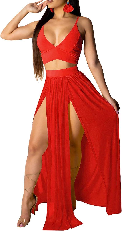 Rela Bota Women's Sexy Summer 2 Piece Maxi Chiffon Dress Crop Top Skirt Set Beachwear Cover Up
