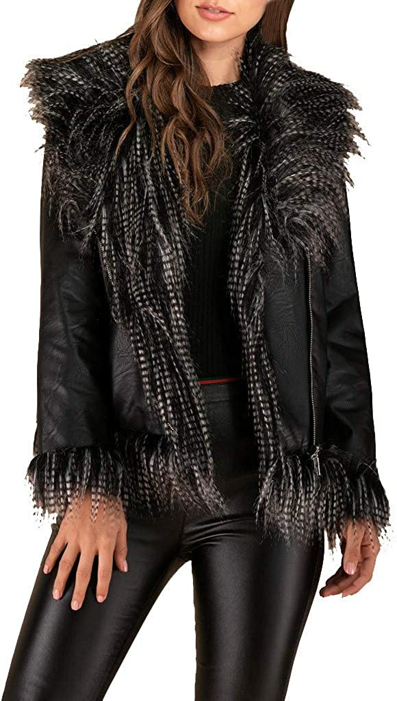 Kangma Women Casual Warm Long Sleeve Leather Jacket Outwear Overcoat Top Blouse