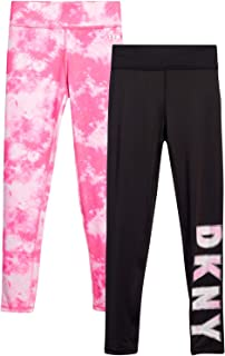DKNY Girls Active Leggings - Spandex Athletic High Waisted Stretch Workout Yoga Pants (2 Pack)