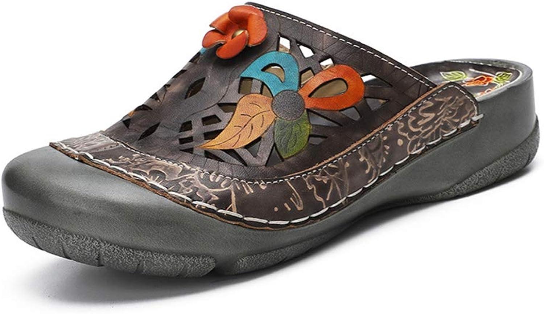 T-JULY Summer Hollow Floral Wedge Platform Home Sandals Women Leather Beach Sandals Flip Flop Slippers
