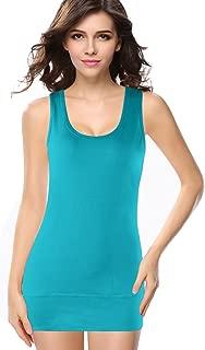 Women Scoop Neck Cotton Extra Long Tank Top Vest