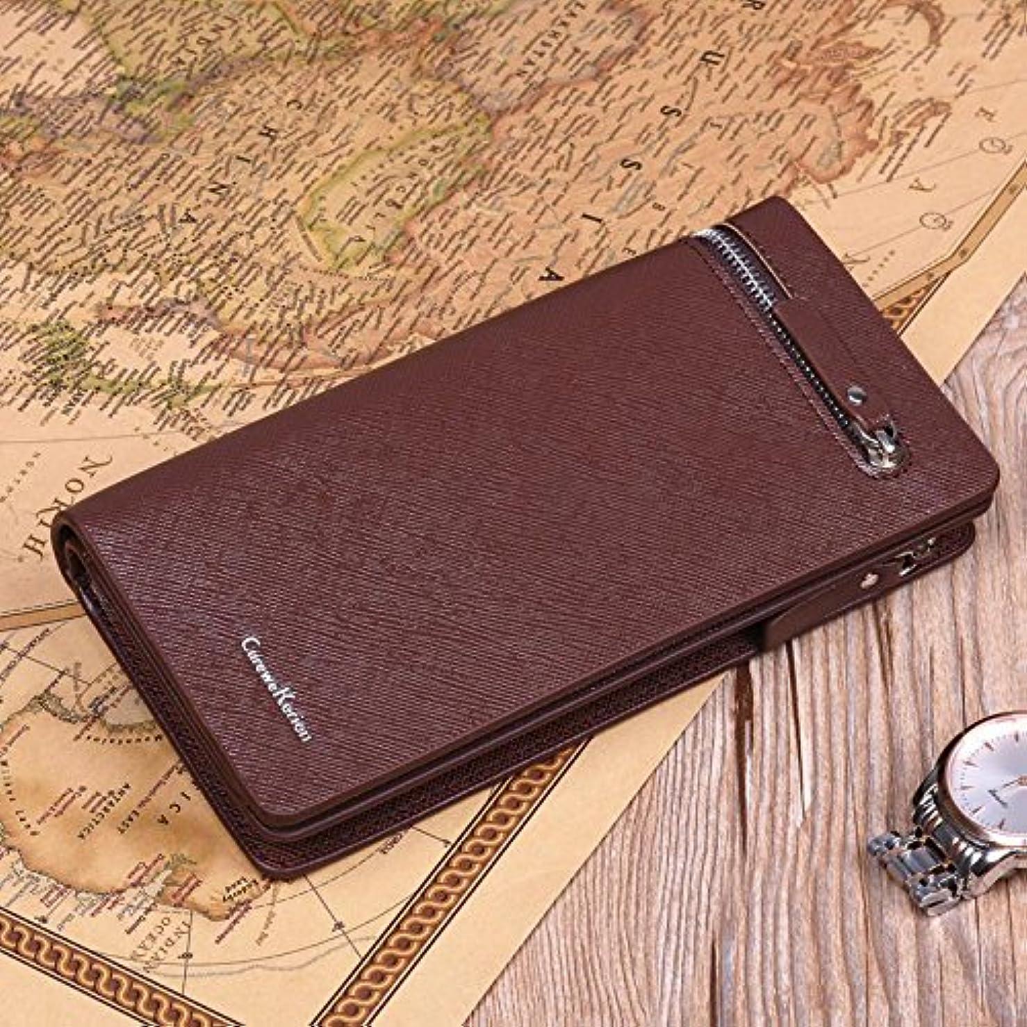 分類つば到着Jicorzo - メンズPUレザーロングジッパー財布ビジネススタイルウォレットカード現金領収書ホルダーカードのIDホルダー[クロスラインコーヒー]